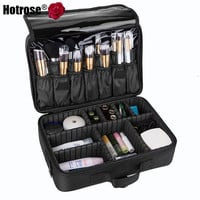 Makeup Train Case 3 Layers Cosmetic Organizer with Shoulder Strap