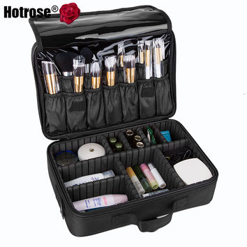 Makeup Train Case 3 Layers Cosmetic Organizer Beauty Artist Storage Brush Box for Brush Set and Cosmetics with Shoulder Strap