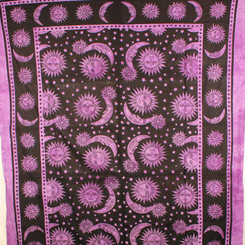 Sun and Moon Tapestry - purple wall tapestry, hippie tapestry, mandala tapestry, boho bohemian tapestry