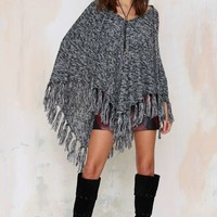 Nasty Gal Knitflix and Chill Poncho - Black