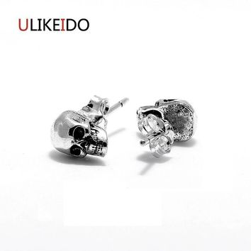 100% Pure 925 Sterling Silver Skull Stud Earring Fashion Punk Pirates Skeleton Jewelry For Men And Special New Gift 311