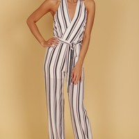 Striped Halter Jumpsuit Ivory/Black