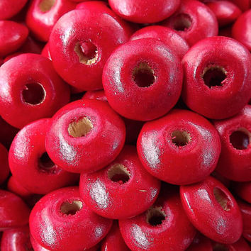 Poppy Red Saucer Disc Wood Beads Varnished Plain Simple Round Disc Craft Wooden Bead Spacers - 14 x 5mm - Choose 25pcs, 50pcs or 100pcs
