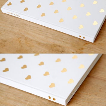 Monthly Planner / White Heart Gold Foil Journal
