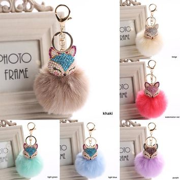 Fox Fur Ball Keychain with Artificial Fox Inlay Pearl Rhinestone