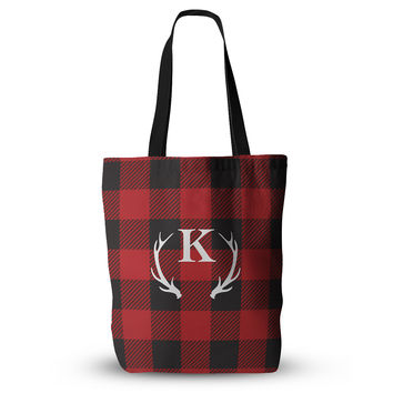 "KESS Original ""Red Plaid Monogram"" Everything Tote Bag"