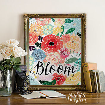 INSTANT DOWNLOAD Art Print, Printable wall art decor, illustration floral drawing poster abstract art Bloom graphic digital Printable Wisdom