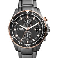 Fossil Men's Wakefield Smoke-Tone Stainless Steel Bracelet Watch 44mm CH2948