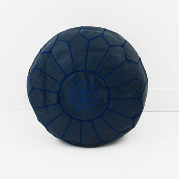 Moroccan Leather Pouf, Ink Blue