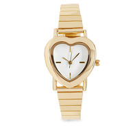 FOREVER 21 Heart-Shaped Analog Watch Gold One