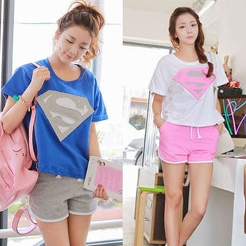 Women's Short sleeve Shorts Superman sportswear casual wear = 1946465220