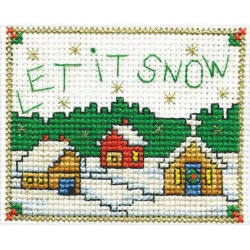 "Let It Snow W/Frame Mini Counted Cross Stitch Kit-2""X3"" 18 Count"