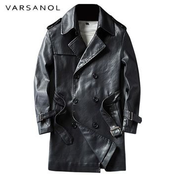 Smart Casual Pu Leather Trench Long Length Men's Fur Coat Full Sleeve Turn-down Collar Adjustable Waist Winter Outwears