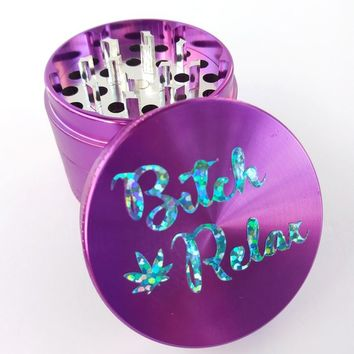 HERB GRINDER - purple steel 4 piece herb grinder, funny, girly, smoking accessories, smoking gifts