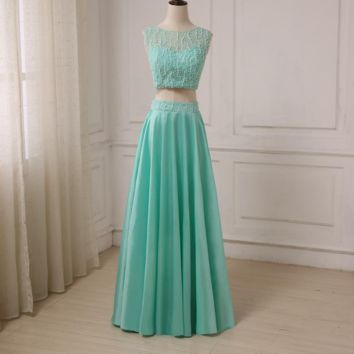 Sexy Two Pieces Evening Dresses Crop Top Beaded Sequined Sparkling Party Formal Gowns Taffeta Long