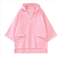 Pink Batwing Sleeve Lace-Up Hooded Sweater