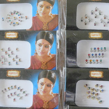 6 Pack Small Bindis Bulk,Wholesale bindi dot,Face Jewel,Tattoos,Small size bindis,Fake nose stud,Stick on body jewels,Indian wedding jewelry