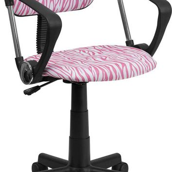 Pink and White Zebra Print Swivel Task Office Chair with Arms [BT-Z-PK-A-GG]
