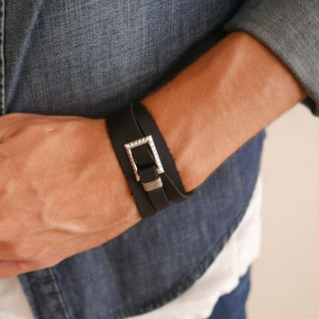 Men's Bracelet - Men's Leather Bracelet - Men's Jewelry - Men's Gift - Husband Gift - Boyfriend Gift - Present For Men - Gift For Dad - Male