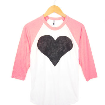 Black Heart Hand STENCILED Crew Neck 3/4 Sleeve Womens Raglan Tee in Neon Heather Pink and White - S M L XL 2XL