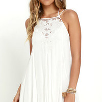 Tulip Talk Ivory Embroidered Dress