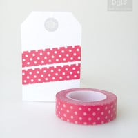 WASHI TAPE, white polka dots on red background