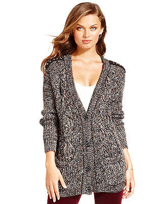 Jessica Simpson Sweater, Long Sleeve Grandpa Marled-Knit Cardigan