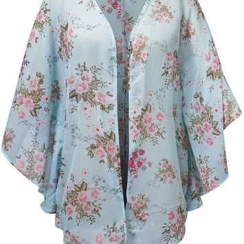 Streetstyle  Casual Snap Front Floral Printed Chiffon Kimono