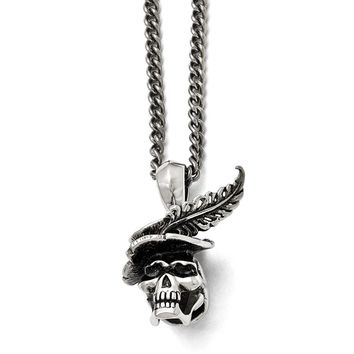 Men's Stainless Steel Polished and Antiqued Skull with Feather Necklace