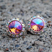 Peach Pink Sunset Aurora Borealis Earrings Sugar Sparklers Swarovski Northern Lights Rhinestone Stud Earrings Mashugana