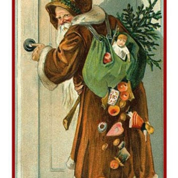 Victorian Father Christmas Naturalist Santa with Bag of Presents Gifts Counted Cross Stitch or Counted Needlepoint Pattern