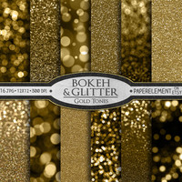 Gold Digital Paper: Gold Bokeh Digital Paper & Gold Glitter Paper - Printable Golden Bokeh Scrapbook Paper - Instant Download Gold Backdrops