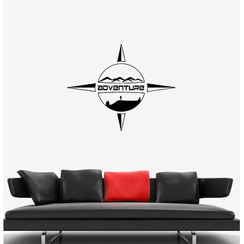 Wall Decal Travel Adventure Compass Tourism Landscape Vinyl Sticker (ed1327)