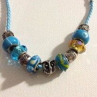 Owl Yellow and Blue Pandora Style Necklace