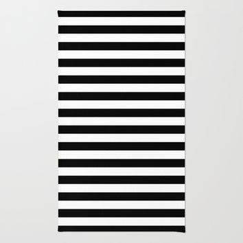 Modern Black White Stripes Monochrome Pattern Rug by Girly Road