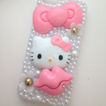 Pink Kitty Barbie  Nicki Minaj Sparkly Bling Bow iPhone for iphone 4 & 5  Swarov Protective Case Cover