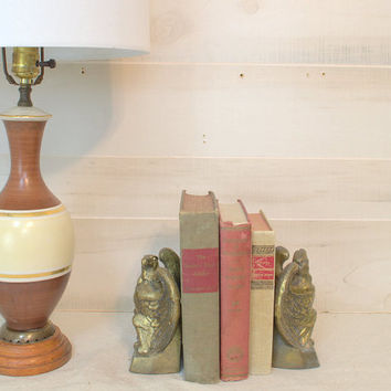 Bicentennial Antique Brass Eagle Bookends,  Vintage 1972 Colonial Virginia Hampton Book Ends. Americana Metal Bookend Set