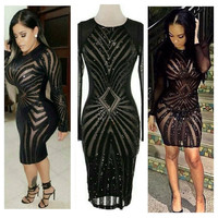 Black Long Sleeve Sheer Mesh Panel Bodycon Dress
