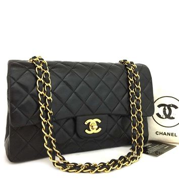 CHANEL Double Flap 25 Quilted CC Logo Lambskin w/Chain Shoulder Bag Black/q602