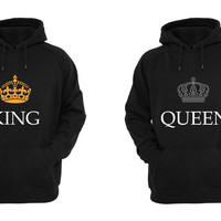 King & Queen Matching His and Her Hoodies