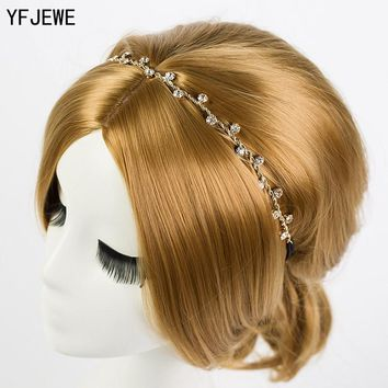 YFJEWE Free Women Hair Accessories Crystal Chain Charms Head Bands Women Jewelry Wedding Bridal Hair Jewelry H008