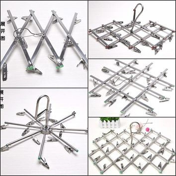 windproof Stainless Steel Swivel Clothes Hanger organizer with clips for Clothes Underwear Bra Socks Gloves Drying Hook Rack