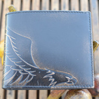 Leather Wallet - Men's WAllet - EAGLE Embossed Leather Bifold Wallet