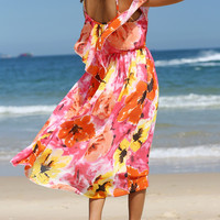 Colorful Overlay Floral Print Chiffon Dress
