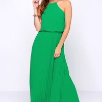 Without Further Ado Green Maxi Dress