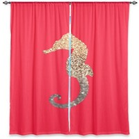 Window Curtains Unlined from DiaNoche Designs Artistic, Stylish, Unique, Decorative, Fun, Funky, Cool by Monika Strigel Gatsby Gold Coral Seahorse