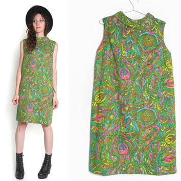 60s Paisley Shift Dress - Summer Dress - 60s Dress - Sleeveless - Twiggy Dress - Hippie Hippy Mod Dress - Flower Child - 60s Mod Psychedelic