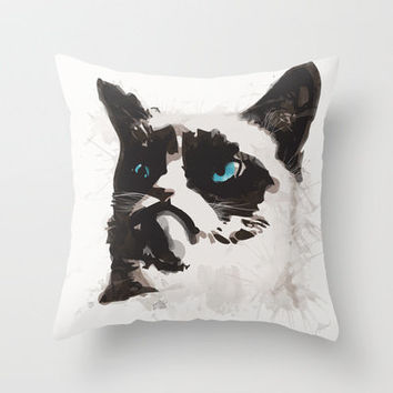 Grumpy Cat Throw Pillow by Allison Reich