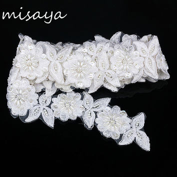 1 yards white embroidery lace sequin fabric with pearl jacquard ribbon lace fabric DIY sun flower manual wedding lace trim