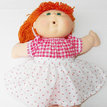 Cabbage Patch Doll Clothes- 16 inch kids or bitty baby clothes- 15 inch red gingham & white flower print dress, handmade adorabledolldesigns